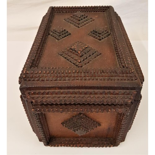 167 - 19th Century Tramp Art Box - 11 x 7.5 x 7ins...