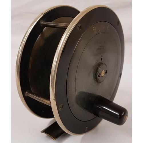 40 - <em>Foster, Maker, Ashbourne</em> 5inch Fishing Reel with original leather case - both reel and case...