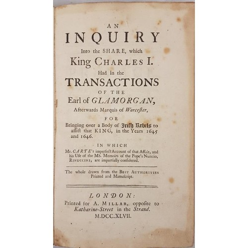 27 - Birch: An<em> Inquiry into the Share which King Charles I, had in the Transactions of the Earl of Gl...