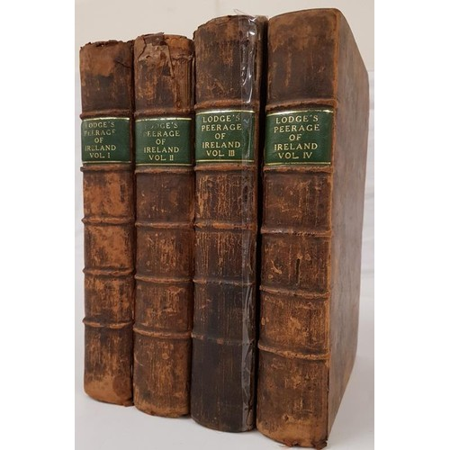 29 - Mr. Lodge. <em>The Peerage of Ireland</em>. 1754. 1st edit. 4 vols. Numerous engravings of Coats of ...