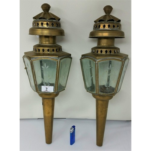 2 - A good pair of early 20th Century brass trap lamps with bevelled glass panels with etched flora...