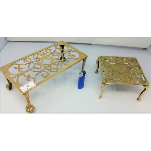 3 - Two early 20th Century brass trivets...