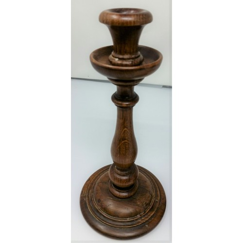 4 - A lovely pair of late 19thCentury /early 20thCentury turned oak candlesticks good patina...