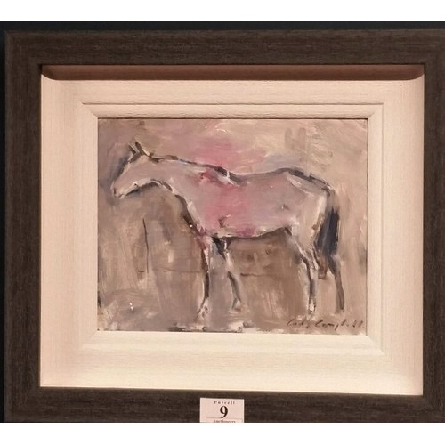 """9 - Con Campbell"""" TheHorse"""" Oil on board Framed size 15.5 inches x 13.5 inches..."""