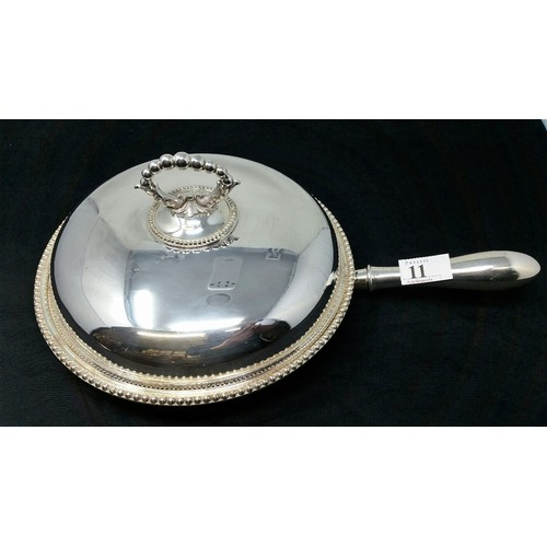 11 - Superb quality late 19thCentury silver plated vegetabletureenandcover, beade...