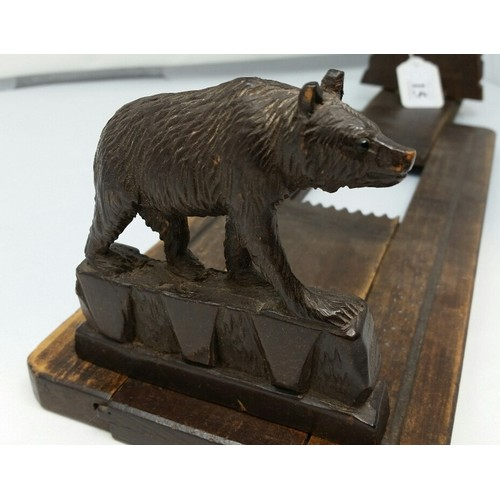 15 - 19thCentury Black Forest extending book stand with carved Black bear supports. 13.5 inches ext...