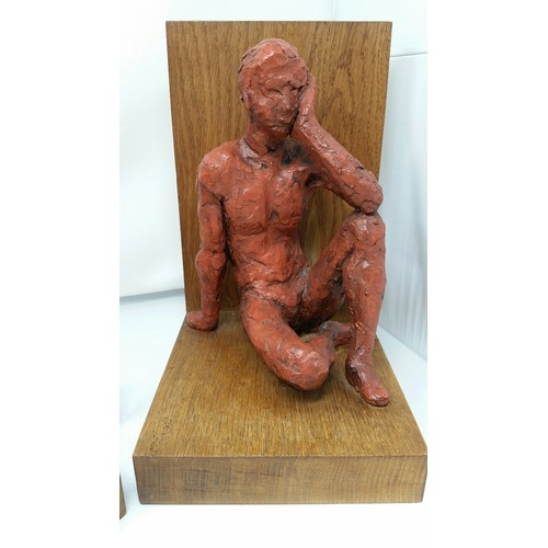 16 - A superb pair of hand sculptured oversized figures on oak bases. Monogram and date 64- possibly Dani...