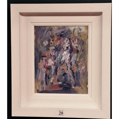 """20 - Con Campbell"""" Hounds"""" mixed media on board framed size 15.5 inches x 13.5 inches..."""