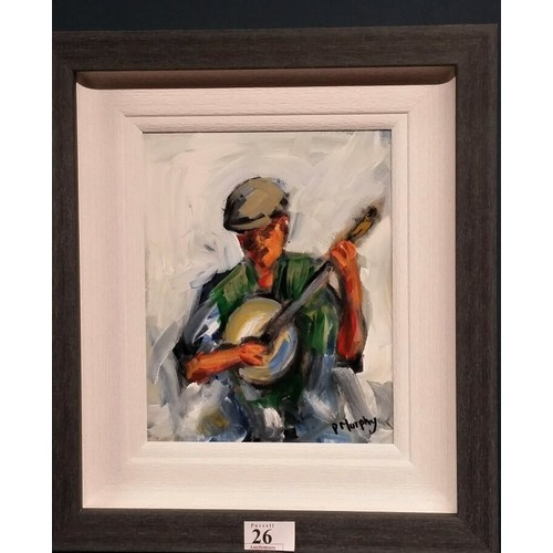 """26 - Patrick Murphy Oil on Board """"Banjo player"""" Framedsize 15.5 inches x 13.5 inches..."""