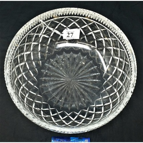 27 - Old Waterford Crystal Bowl of large proportions . 10 inches wide and 4 inches high .&...