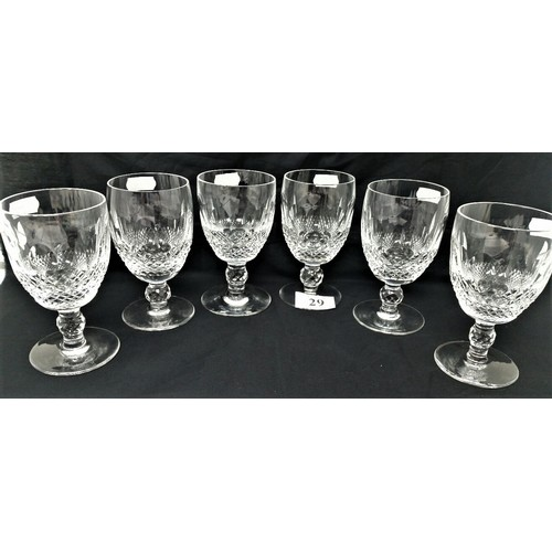29 - Six Old Waterford Crystal wine glasses 5 inches tall no cracks nibbles or chips...