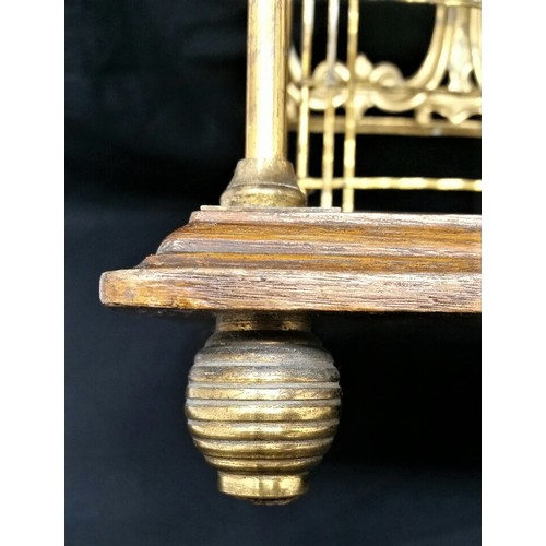 31 - Late 19thCentury table top newspaper / magazine rack Oak base with beehive brass feet with bra...