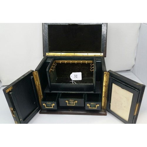 32 - 19thCentury Superbstationaryand jewellery cabinet with inset gold silver and roles...