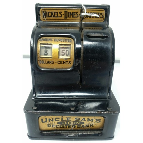 34 - Uncle Sams Register Bank. An early 20th Century tin plate Cash register . I...