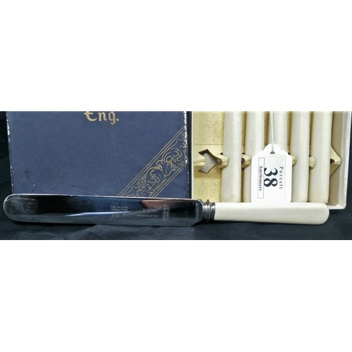 38 - Aunused set of bone handled stainless dinner service knives in original wrapping and original ...