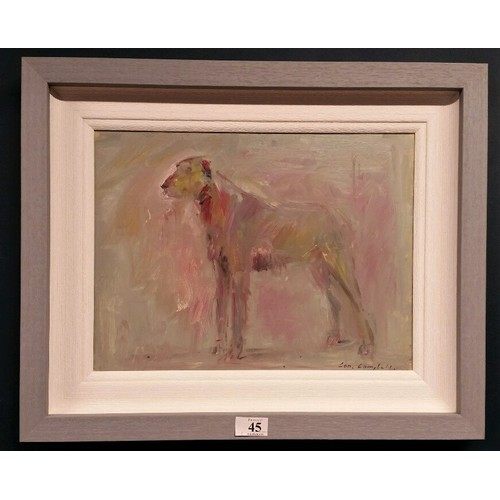 "45 - Con Campbell Oil on board "" Irish Wolfhound "" Framed size 21.5 inche..."
