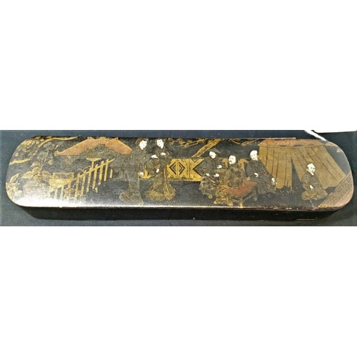 48 - 19thCentury Japanese papiermachepencil case hand decorated and gilded top. 9.25 in...