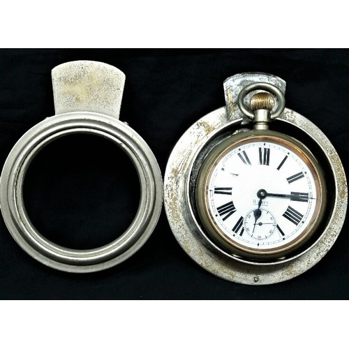 49 - Late 19th Century cased Swiss made pocket watch. Possibly once fitted to a car interior dashboa...