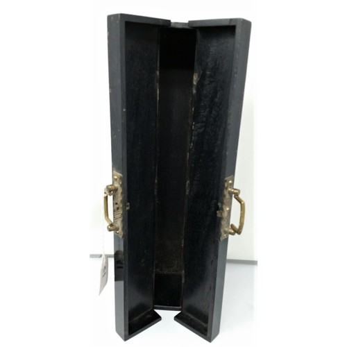 51 - Late 19thCentury Artists Brush box with gilt brass carrying handles and push button opening. E...