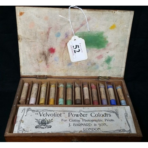 52 - Late 19th/early 20th Century mahogany boxed set of powder colours for tinting photographic prin...