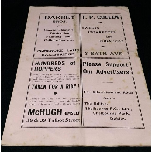 54 - Shelbourne F.C. Ltd 1939-40 official programme in good usable condition . Front cover size...