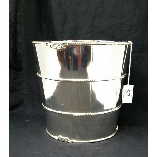 57 - A good heavy quality 20th century silverplated wine/ champagne bucket . Silver platin...
