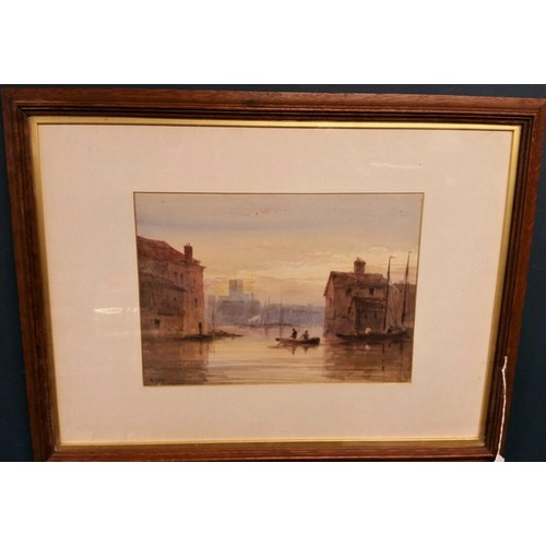 66 - Edward Tucker British 19th Century – a good quality watercolour of figures in a boat in a...