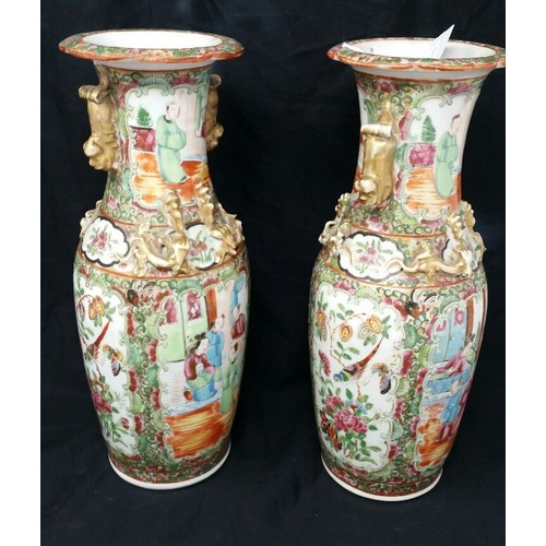 64 - A superb pair of 19thCentury Cantonese vases with high quality hand painted decoration Size 10 inch...