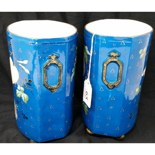 65 - A superb pair early 20thCentury Japanese hand decorated bases with exceptional hand painted fl...