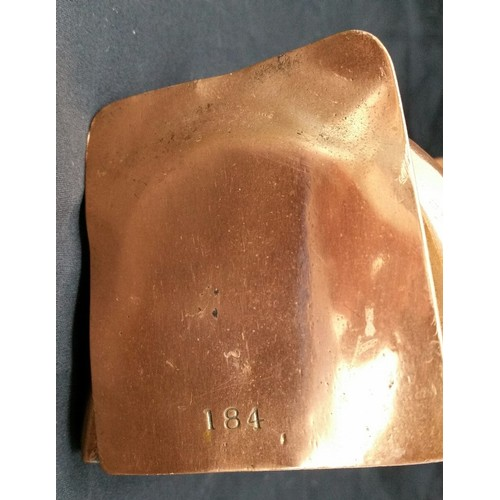 67 - 19thCentury Copper jelly mould stamped184 .5.5 inches long x 3 inches high x 3.5 i...