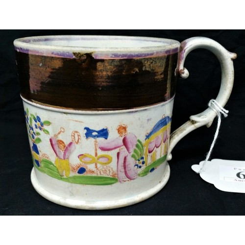 68 - An early 19thCentury mug with part lustre decoration and hand painted pictorial scene circa&nb...