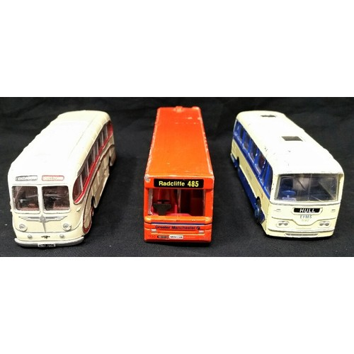 69 - Three vintage buses one by Corgi. Various states of condition associated with being played...