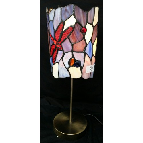 79 - A modern Tiffany design table lamp with brushed brass base Dragon Fly motif. 14 inches high x ...
