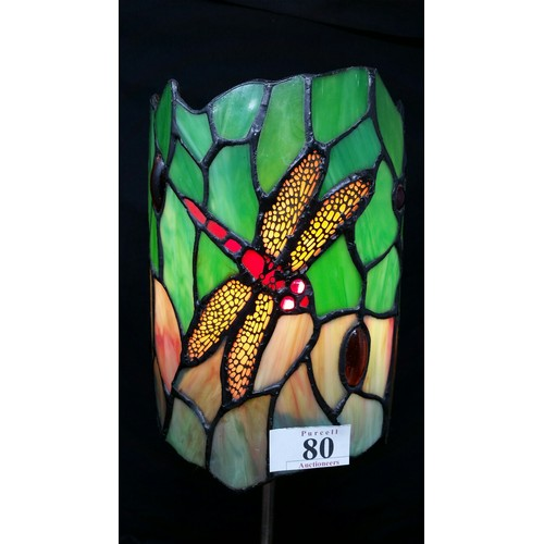80 - A modern Tiffany design table lamp with brushed brass base and dragon fly motif. 14 inches high x 5....