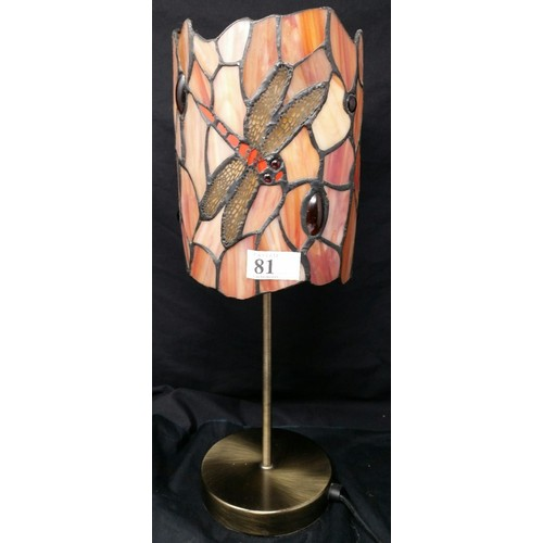 81 - A modern Tiffany design table lamp with brushed brass base Dragon Motif. 14 inches high x 5.5 inches...