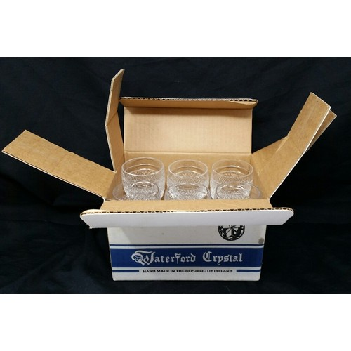 84 - A set of six old Waterford port glasses never used in original box.  No chips or nibbles. Glass...