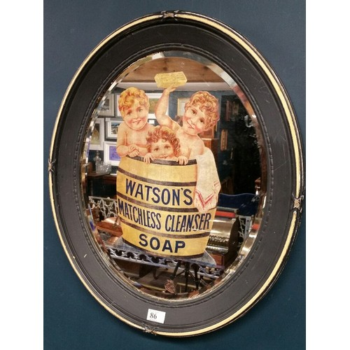 86 - 19th Century mirror with Watsons Matchless Cleanser soap advertising. Size 24.5 inches x 21.5&n...