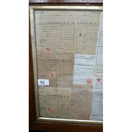 92 - A collage of eleven early 20thCentury Irish oil company – Invoices to include Anglo Amer...