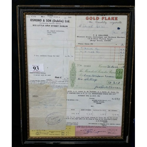 93 - Acollage of assorted receipts and a 1959 cheque made payable to Coras Iompair Eireann with a 1...