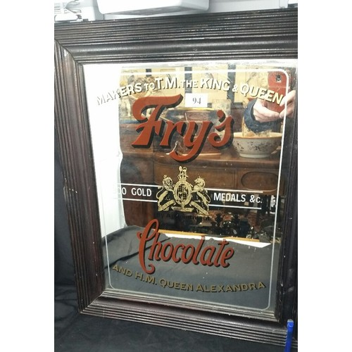 94 - A Fry's Chocolate advertising mirror within a 20th Century frame Size 24 x 20 inches...
