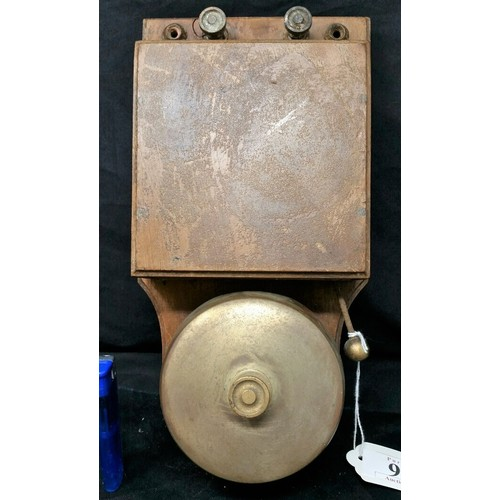 95 - Early 20th Century fire alarm or factory bell with bronze bell 12 x 5.5 inches  ...