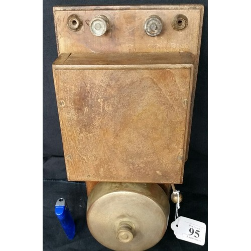 95 - Early 20thCentury fire alarm or factory bell with bronze bell 12 x 5.5 inches...