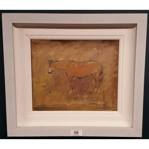 """98 - ConCampbell Oilon board"""" Horseat Rest"""" Framed size 17,5 x ..."""