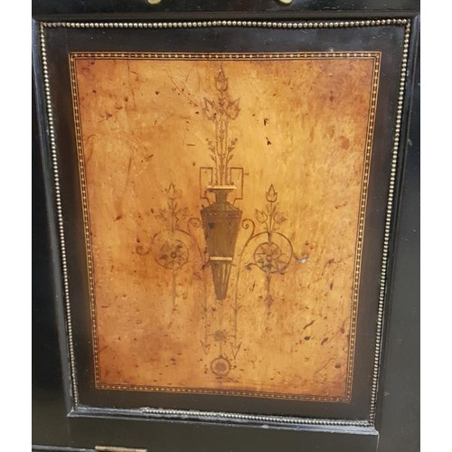 302 - Edwardian Ebonised and Burr Walnut Fall Front Fuel Section - 19 x 15 x 40.5ins...