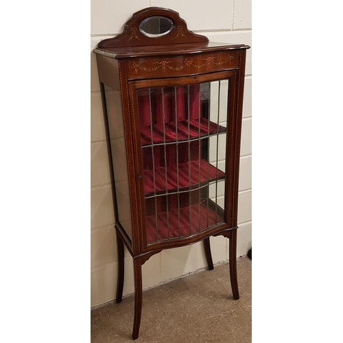 303 - Edwardian Inlaid Mahogany Glass Display Cabinet, with mirror panel atop a single glazed panel door a...