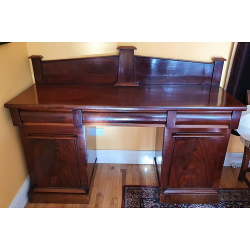 304 - William IV Mahogany Pedestal Sideboard with a three pillar gallery over three frieze drawers and all...