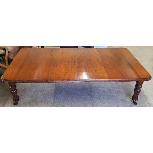 305 - William IV Mahogany Extending Dining Table with two spare leaves - 94ins long x 48ins wide...
