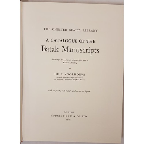 2 - Dr. P. Voorhoeve. <em>The Chester Beatty Library – A Catalogue of the Batar Manuscripts.</em> Dublin...