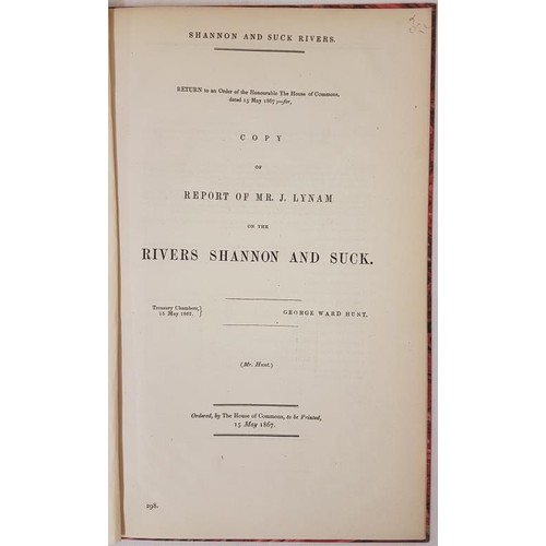 28 - <em>Report of Mr J. Lynam on the Rivers Shannon and Suck</em>. 1867. Marbled boards...