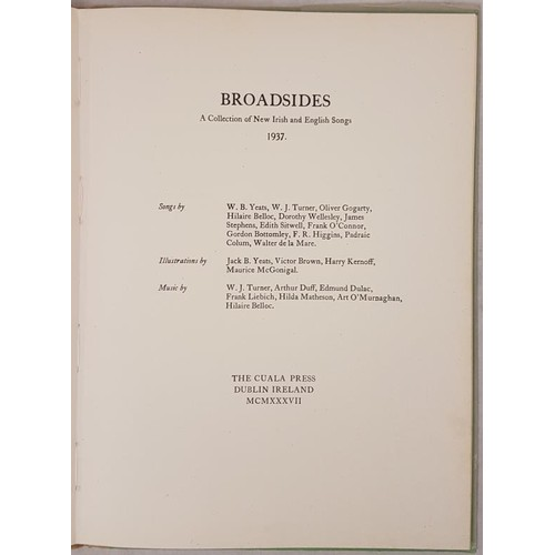 112 - [illustrated by Jack B. Yeats, Harry Kernoff, Maurice McGonigal] Broadsides. A Collection of New Iri...